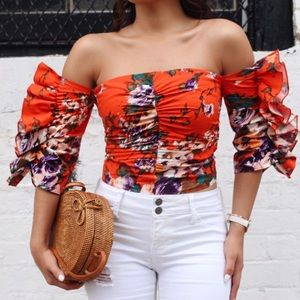 H&M Floral strapless top